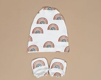 baby shower organic baby clothes Sushi Roll organic cotton newborn  baby mittens and knot hat newborn clothes no scratch baby mittens