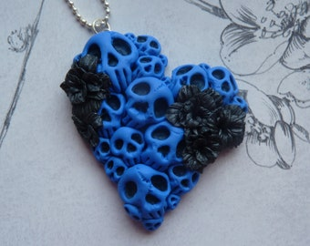 Skull pendant, polymer clay. Punk Skulls and Roses necklace