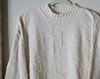 Ivory   White Oversize Large Sweater with Snowflake Pattern - Vintage  Winter Knit Sweater - Long White Sweater - White Stag b7423c07f