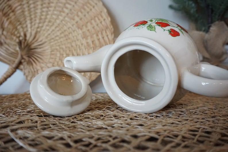 Strawberry Ceramic Teapot Retro Straw Berry Kitchen Decor Small Vintage Kettle
