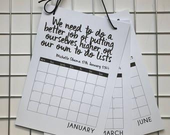 2018 Quote Calendar Planner