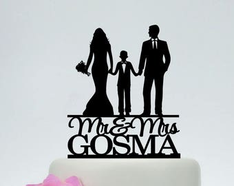 Family Cake Topper,Bride and Groom with little boy Cake Topper,Couple with child, Wedding Couple with Son, Custom Cake Topper C192