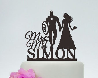 Captain America Cake Topper, Wedding Cake Topper,Mr and Mrs Cake Topper With Surname,Custom Cake Topper, Super Hero Cake Topper  C136
