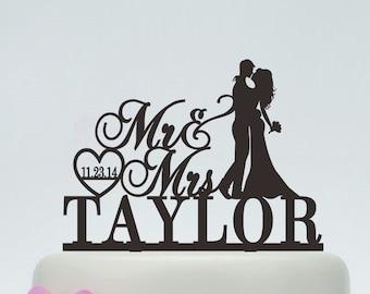 Wedding Cake Topper,Mr and Mrs Cake Topper With Surname,Heart Topper,Custom Cake Topper,Personalized Cake Topper,Date Cake Topper C118