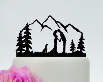 Outdoor Wedding Cake Topper,Bride and Groom, Dog Cake Topper,Custom Mountain Cake Topper,Personalized Cake Topper,Tree Cake Topper C172