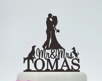 Mr & Mrs Cake Topper,Bride And Groom Silhouette,Wedding Cake Topper,Couple Cake Topper,Dog Cake Topper - C107