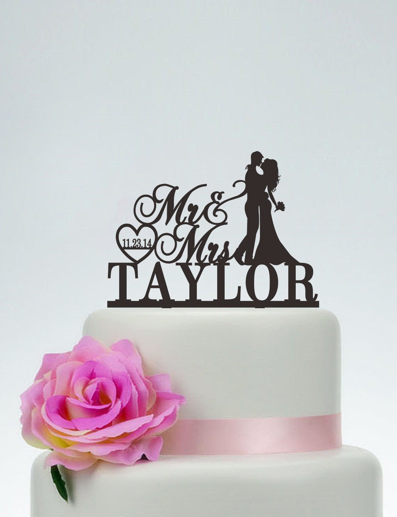 Wedding Cake TopperMr and Mrs Cake Topper With SurnameHeart image 0