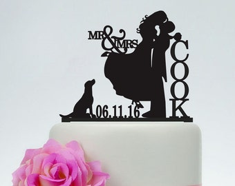 Mr & Mrs Cake Topper,Bride And Groom Silhouette,Wedding Cake Topper,Personalized Cake Topper,Date Cake Topper,Dog Cake Topper, Couple- C111