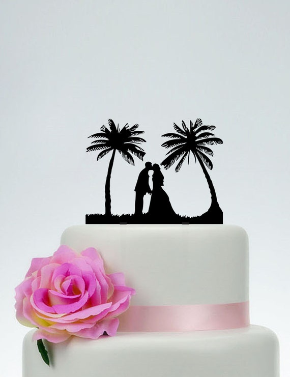 beach wedding cake toppers canada theme cake topperbride and groom silhouette cake etsy 11194