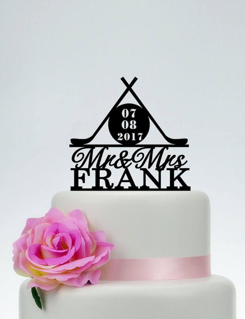 Custom Hockey Cake TopperMr and Mrs Wedding Cake Topper image 0