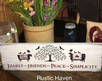 "Primitive Farmhouse Sign | Family Friends Peace Simplicity | Inspirational | Wooden Wall Sign | Home Decor | Wood Sign | 7.25"" x 23.75"""