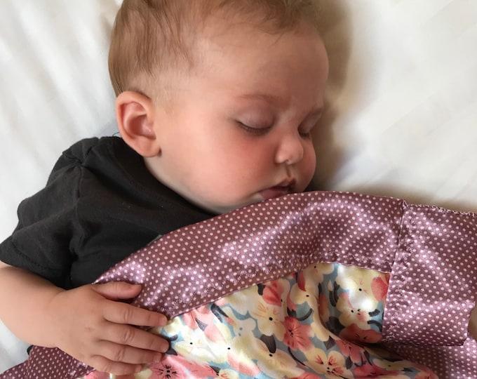 Baby Blanket, Silky Blanket, Custom baby blanket, Newborn baby blanket, floral, Baby Shower gift, Crib blanket, Stroller, approx 20x20