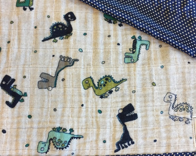 Dinosaur, Double Gauze, Baby Blankets, Muslin blanket, Lovey, Travel blanket, Silky blanket, Breathable baby blanket, Baby shower, 20x20