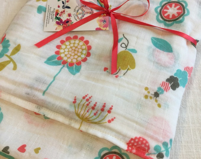 Double gauze swaddle, Muslin swaddle, baby blanket, flower, flowers, swaddle blanket, cotton swaddle, swaddle, baby gift, muslin