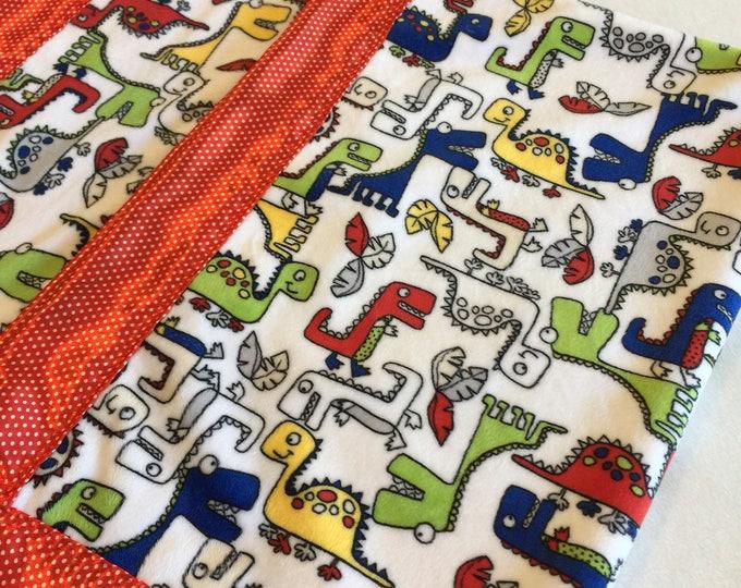 Dinosaur Baby Blanket, Minky Blanket, Silky Blanket, Personalized Blanket, Crib Blanket,Baby Girl, Baby Boy, Homemade Baby Blanket, Dreams