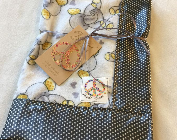 Travel Silky Baby Blanket. Elephant Flannel Front, backed and edged with grey pindot Silky 20x20. These loveys make great baby gifts.
