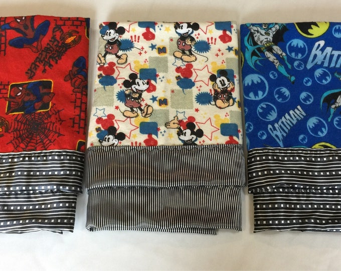 Batman, Spiderman, Star Wars, Mickey Mouse lovies, Flannel front backed and edged with silky fabric 20x20 lovey, baby blanket, baby gift