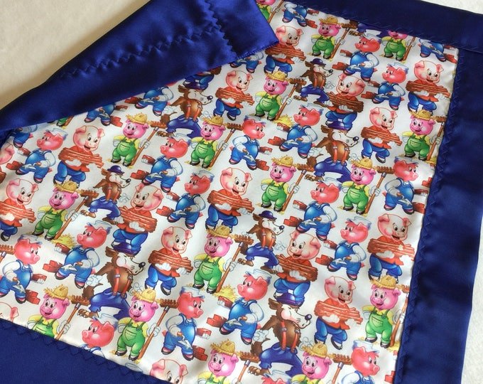 Baby blanket, Silky blanket, Stroller blanket, Lovey, silky, disney, Big bad wolf, three little pigs, homemade, baby gift, personalized