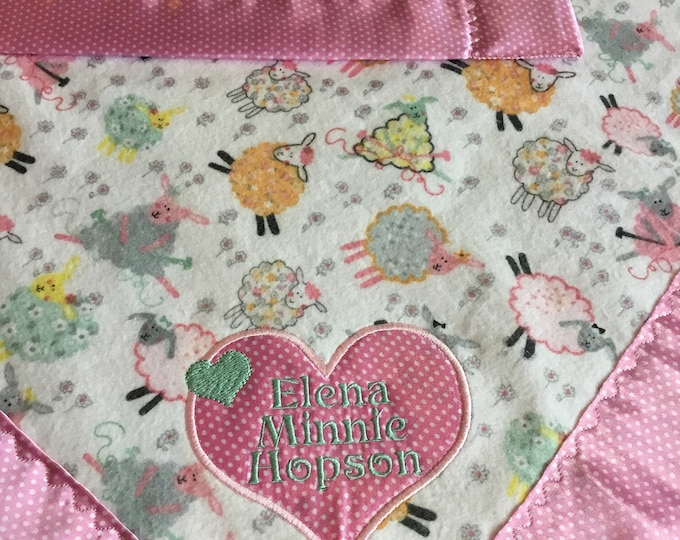 Personalized Baby Blanket, This Little Lamb lovey has Flannel front, backed and edged with silky fabric. Other sizes available