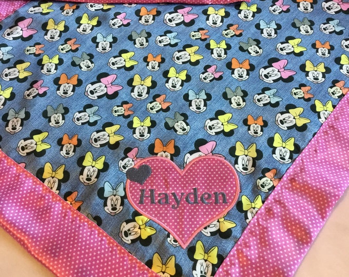 Disney Minnie mouse Baby blanket, Silky blanket, Stroller blanket, Lovey, silky, Homemade.