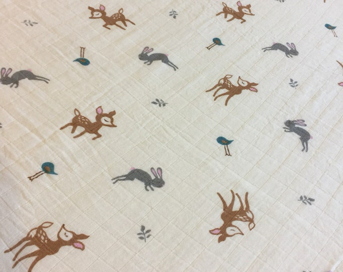 Deer, bunny, Double gauze swaddle, Muslin swaddle, baby swaddle , swaddle baby blanket, receiving blanket,  40x45