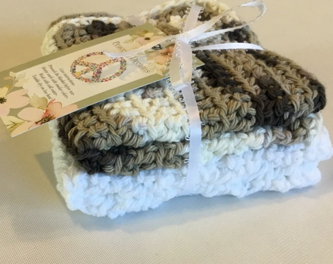 Set of 2, Crochet Dish Cloths, I will ship the  colors you see in the pictures, 100% cotton dish rag, homemade approx 7x7