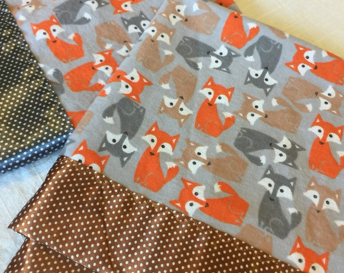 Fox baby blanket. Flannel front, backed and edged with silky fabric. This is travel size lovey 20x20. Perfect baby shower gift