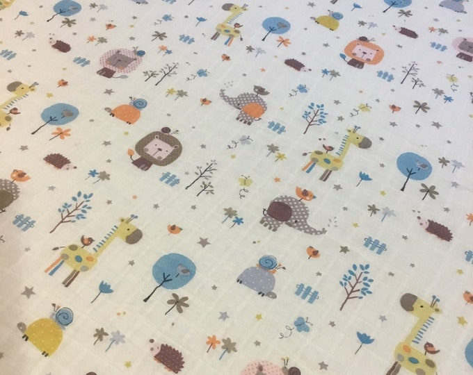 Fun animal Double gauze swaddle, Muslin swaddle, baby swaddle, swaddle baby blanket, receiving blanket, 42x45