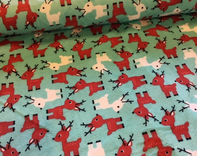 Plush Minky raindeer fabric, Shannon's fabric, sold by the yard, ready to ship
