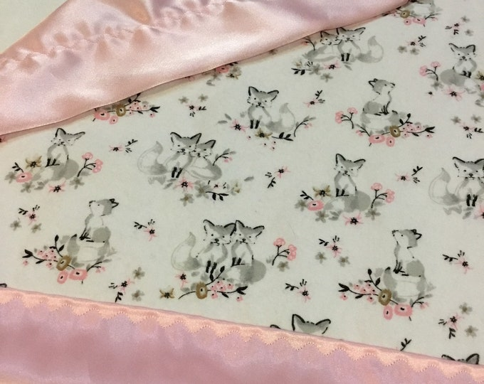 Lovey, baby blanket, crib blanket, silky blanket. Beautiful woodland flannel front, backed and edged with gray silky, 20x20, FOX
