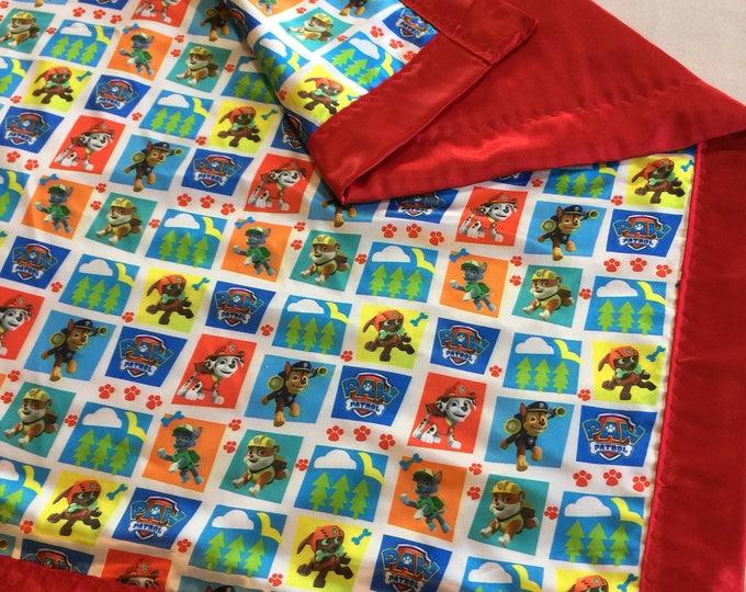 Paw Patrol silky blanket, Baby blanket, Silky blanket, Stroller blanket, Lovey, silky, Homemade 25x25