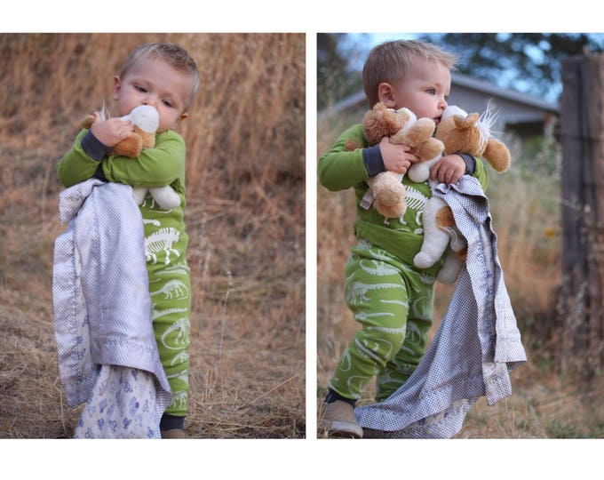 Lovey, Muslin front, backed and edged with silky fabric. Adorable train Muslin baby blanket