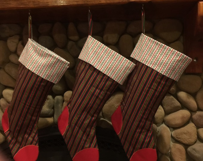 Large Keepsake Christmas Stockings.. Homemade Christmas Stocking with personalized Tag Ready to ship