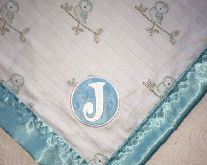 Baby Blanket Breathable Muslin front, backed and edged silky Fabric. Babyblanket, cribblanket, muslinblanket, silkyblanket, travelblanket