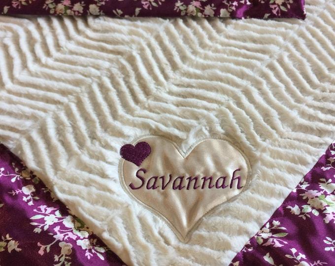 Lovey, silky blanket, newborn baby blanket, Custom baby blanket, silky baby blanket, baby shower girls gift, minky, baby gift 20x20