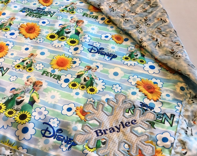 Frozen blanket, Homemade silky blanket, Elsa, Anna, Olaf 30x40