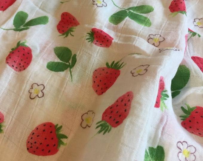 Strawberry Double gauze swaddle, Organic Muslin swaddle blanket, newborn, light weight breathable baby blanket, 47x47