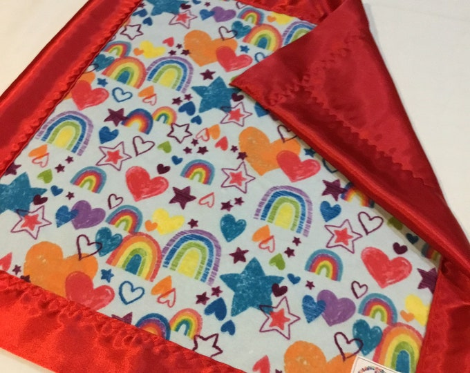 Rainbow silky lovey, flannel rainbow front, backed and edged with silky fabric, 20x20 travel silky