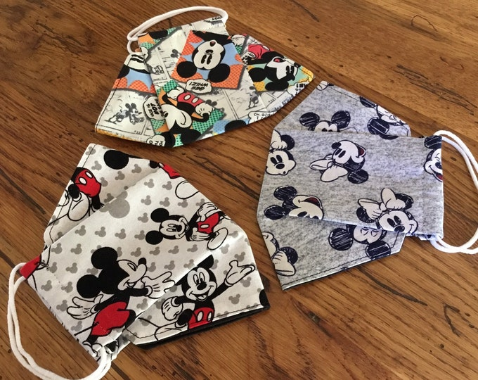 Face Masks, homemade mask, washable & reusable, soft ear elastic and adjustable nose wire, 3D, same day shipping, Mickey and Minnie prints