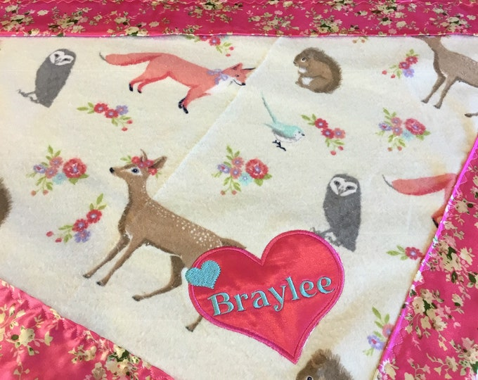 Lovey, 20x20 silky blanket. Beautiful flannel front backed and edged with floral charmeuse silky. Baby gift