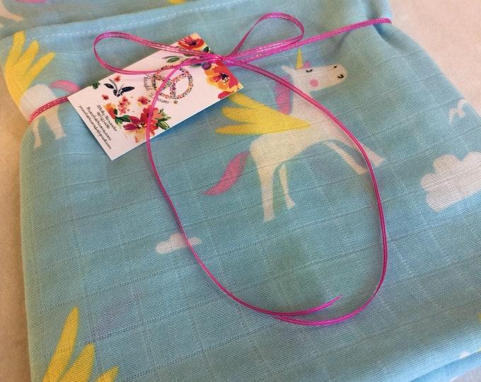 Double gauze swaddle, beautiful unicorn, 70 bamboo 30 cotton, Muslin swaddle, swaddle baby blanket, light weight breathable baby blanket