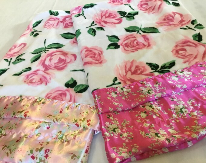 Baby Blanket, floral Minky Blanket, Silky Blanket, plush blankets, kids blanket, satin blanket, personalized baby blankets, baby shower