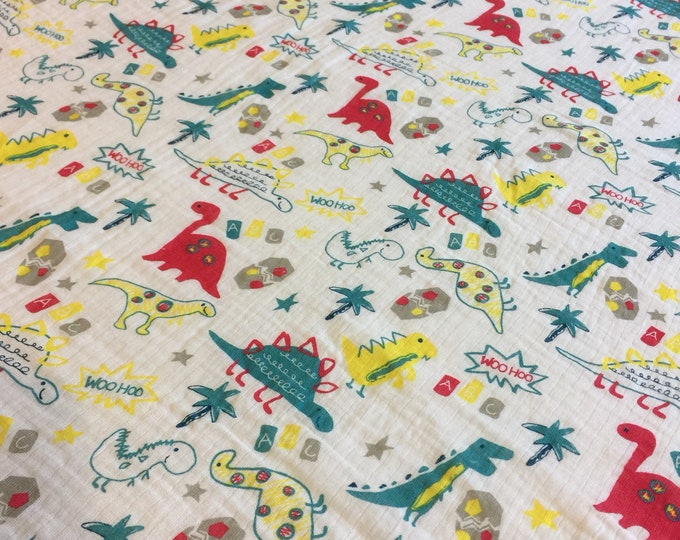 Double gauze swaddle, Muslin swaddle baby blanket, dinosaur baby blanket swaddle blanket, newborn, light weight, dinosaurs swaddle blanket