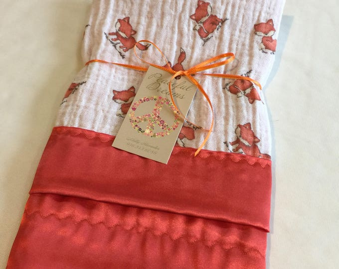 Fox muslin silky lovey, double gauze baby blanket, travel silky baby blanket, woodland receiving blanket, baby shower gift, baby blanket