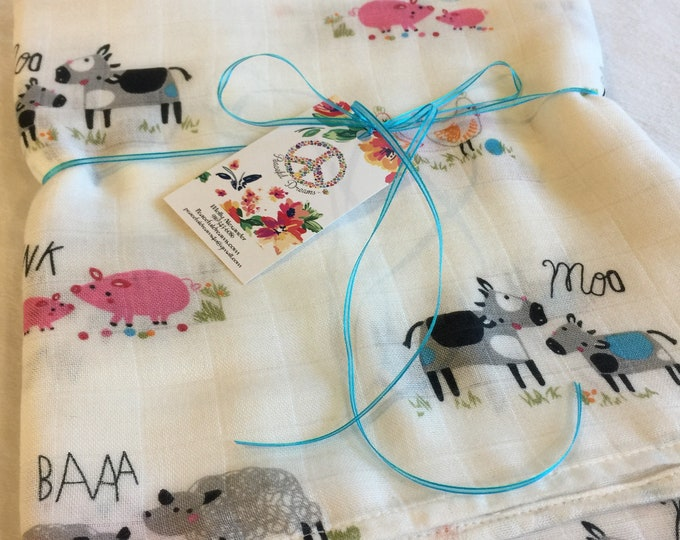 Double gauze swaddle, Muslin swaddle, farm, cows, chickens, pigs, lambs, swaddle baby blanket, light weight breathable baby blanket, bamboo