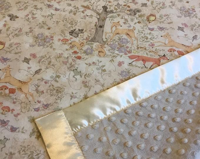 Woodland baby blanket, 30x40 baby blanket, Cotton front/minky back/silky binding