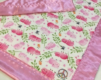 Perfect baby shower gift Flannel front Fox baby blanket This is travel size lovey 20x20 backed and edged with silky fabric