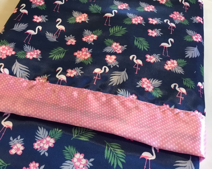 Beautiful Flamingo silky baby blanket. 30x40, four colors to choose from.