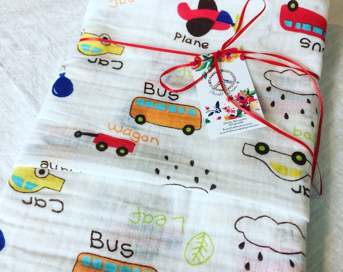 Double gauze swaddle, Muslin swaddle, baby blanket, air plane, wagon, bus, balloon, swaddle blanket, cotton swaddle, swaddle, baby gift