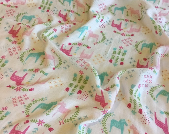Ultra soft light weight bamboo cotton, double gauze, muslin swaddle, perfect baby gift, horse swaddle